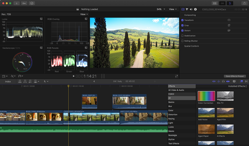 Logiciels de retouche video gratuits - Final Cut Pro X