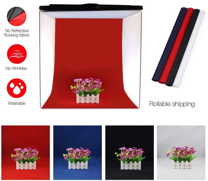 FOSITAN Studio Photo 60x60x60cm Boîte de Lumière Tente Portable Pliable avec 5 trépieds